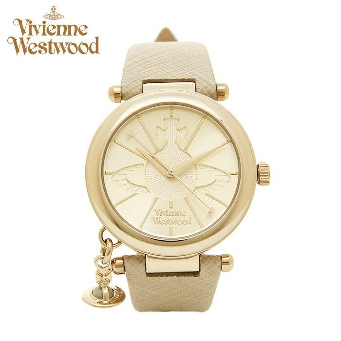 【レビューを書いて5年保証】【スプリングクリアランス】ヴィヴィアンウエストウッドVivienne Westwood VV006GDCM オーブ時計 腕時計 レディース ゴールド ベージュ レザー プレゼント ホワイトデー