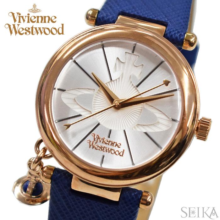 (お取り寄せ)(ショップ袋プレゼント)ヴィヴィアンウエストウッドVivienne Westwood時計 腕時計 レディースシルバー ブルー レザー VV006RSBL(ty04)