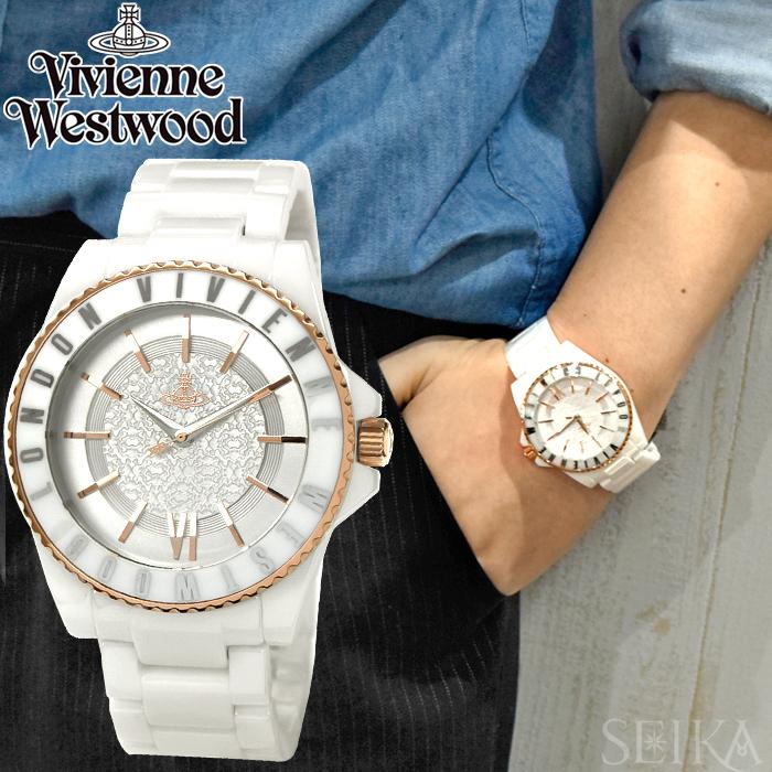 (ショップ袋プレゼント)ヴィヴィアンウエストウッドVivienne Westwood VV048RSWH時計 腕時計 メンズホワイト ピンクゴールド セラミック