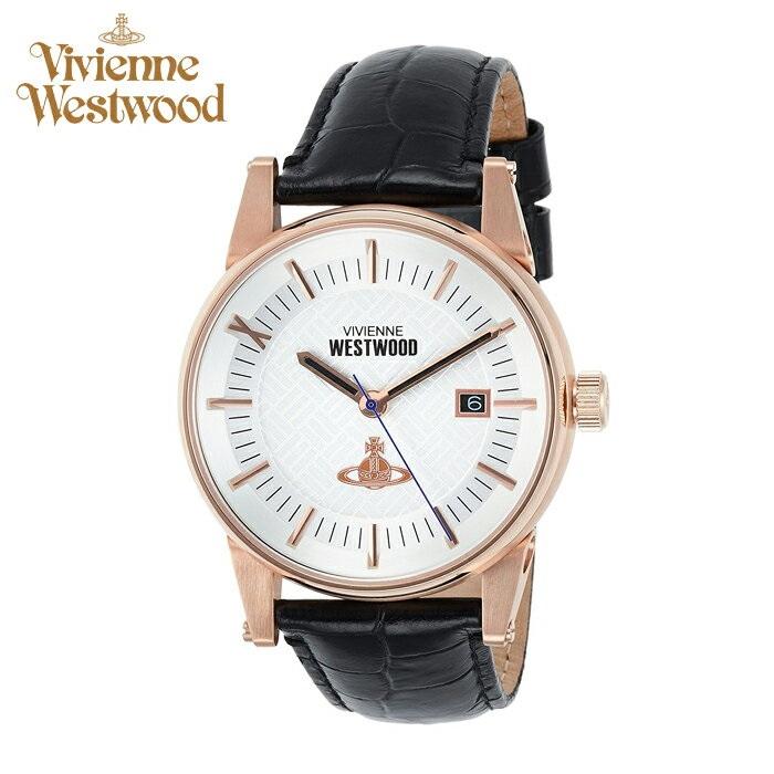 (ショップ袋プレゼント)ヴィヴィアンウエストウッドVivienne Westwood時計 腕時計 メンズシルバー ブラック レザー VV065SWHBK【ID】
