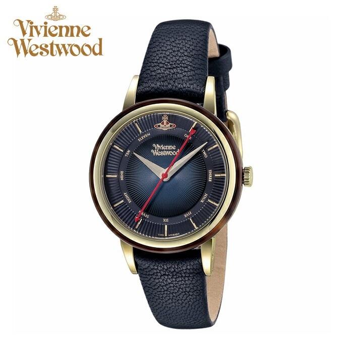 (お取り寄せ)(ショップ袋プレゼント)ヴィヴィアンウエストウッドVivienne Westwood時計 腕時計 レディースネイビー ネイビー レザー VV158BLBL(ty04)