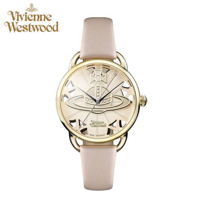 (お取り寄せ)(ショップ袋プレゼント)ヴィヴィアンウエストウッドVivienne Westwood時計 腕時計 レディースベージュ ベージュ レザー VV163BGPK(ty04)