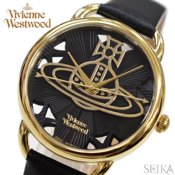 【クリアランス】(ショップ袋プレゼント)ヴィヴィアンウエストウッドVivienne Westwood時計 腕時計 レディースブラック ブラック レザー VV163BKBK