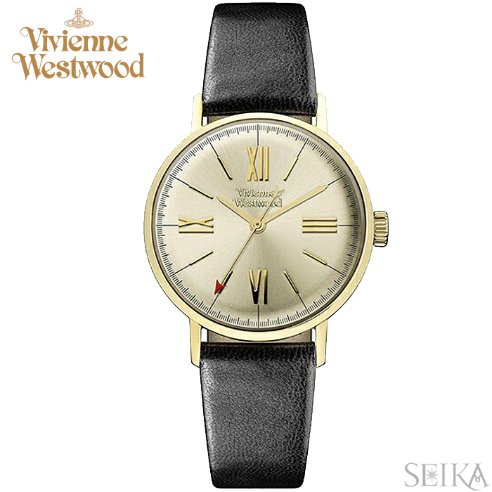 a44933bb6a (ショップ袋プレゼント)ヴィヴィアンウエストウッドVivienne Westwood VV170GYBK時計 腕時計 レディース シャンパンゴールド  ブラック レザー -レディース腕時計