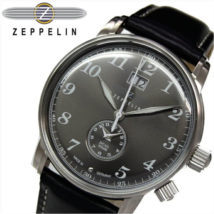ツェッペリン ZEPPELIN7644-2 時計 腕時計 メンズグレー ブラック レザー