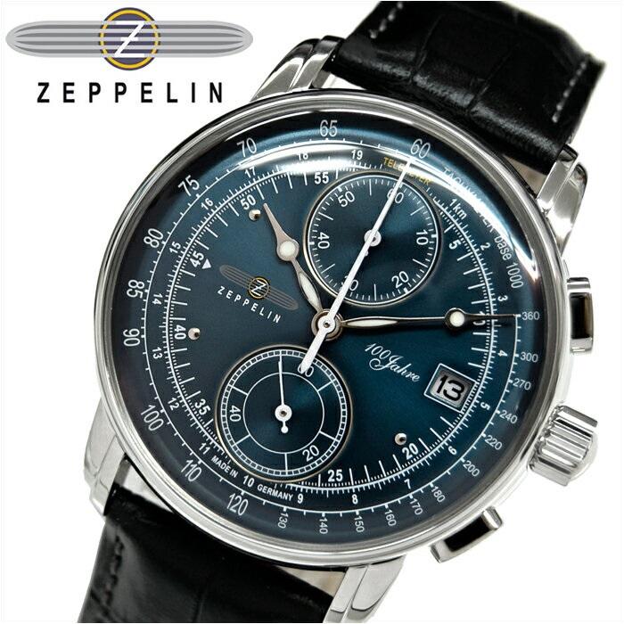 ツェッペリン ZEPPELIN 時計 腕時計 メンズ8670-3 ネイビー ブラック レザー 青い腕時計
