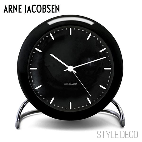 【送料無料】ARNE JACOBSEN / アルネ・ヤコブセンCITY HALL テーブルクロック(ブラック)新生活 一人暮らし 入学祝い