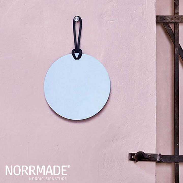 【即納可】NORRMADE(ノルメイド)/ ROPE Glass mirrorロープミラー(リシコンリング2色入り)約1.2kg全体:300×470mm 鏡:φ300×8mm フック:φ20×30mm
