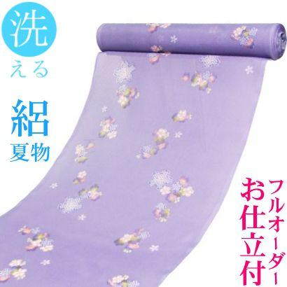 ポリエステル100%≪【フルオーダーお仕立て付き】 洗える 駒絽 夏物 小紋「さくら(紫)」≫