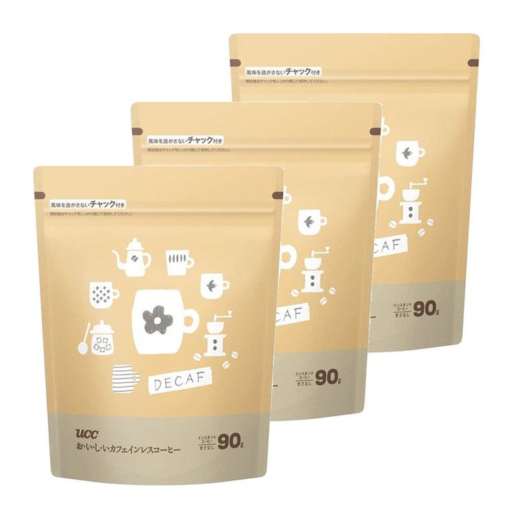 コーヒー インスタントコーヒー インスタント 激安超特価 マグカップ カフェ 簡単 便利 経済的 ハイクオリティ おいしいカフェインレスコーヒー袋 UCC 90g デカフェ カフェインレス 香り D 3個セット