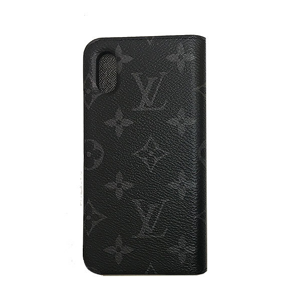 ≪新品≫ルイヴィトン iphone X 10 10S フォリオ モノグラムエクリプス 二つ折り スマホ 携帯ケース アクセサリー モバイル M63446 LOUISVUITTON ビトン プレゼントラッピング