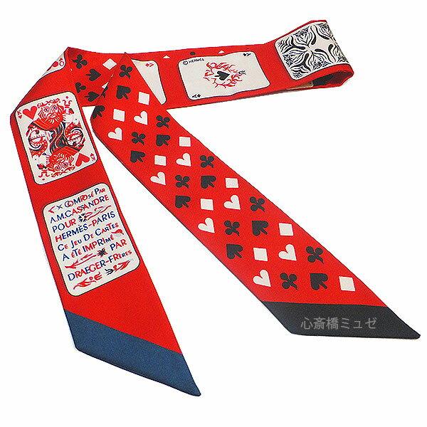 ≪新品≫エルメス 2018年 春夏 コレクション≪jeu de cartes≫トランプ柄 ツイリー レッド 赤 ハート ラッピング