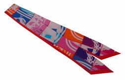 ≪新品≫ エルメス ツイリー En Desordre 《無秩序》GALA 赤・ピンク・パープル スカーフ 箱・リボンのラッピング