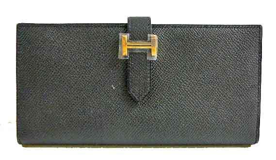 【キャッシュレス5%還元対象】エルメス ベアンスフレ エプソン 黒 ゴールド金具 箱付きラッピング Wallet Bearn Souffle Veau Epson Noir Gold Backle 心斎橋ミュゼ
