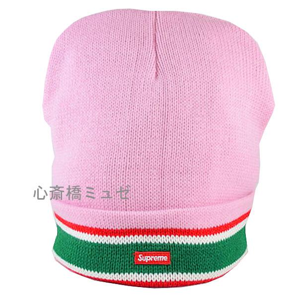 【キャッシュレス5%還元対象】≪新品≫ 16AW SUPREME Striped Cuff Beanie PINK シュプリーム ピンク ニット帽