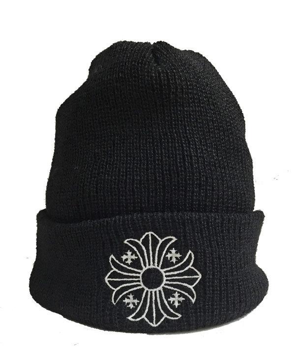 【キャッシュレス5%還元対象】正規品 新品 クロムハーツ クロスボール ニット帽 黒 ブラック ホワイトステッチ ショッパー付