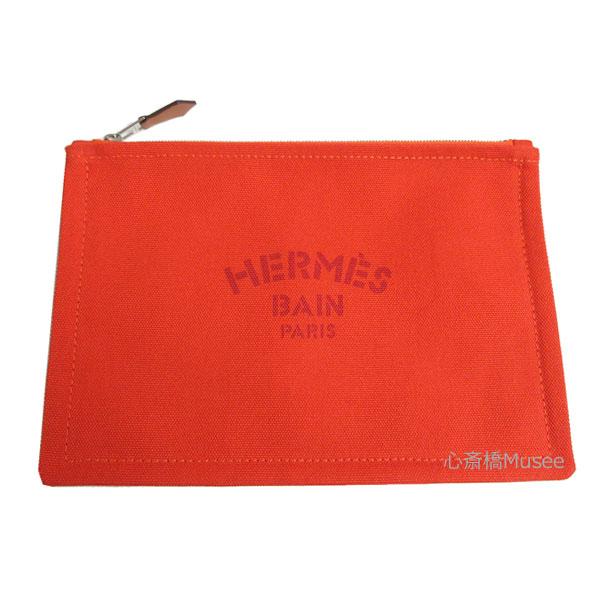 新品 HERMES エルメス ヨッティング フラット ポーチ PM 小 オレンジ 紙袋 リボン