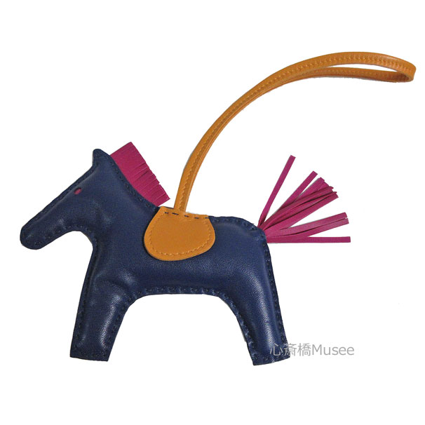 【キャッシュレス5%還元対象】《新品》エルメス ロデオ 「GRIGRI RODEO」 馬 革 バッグ チャーム MM ブルードマルト ジョーヌ ローズパープル アニューミロ(ラム) 箱 リボン ラッピング
