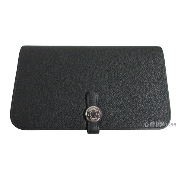 新品 HERMES エルメス ドゴン GM トゴ 黒 ブラック シルバー金具 箱 リボン付 ラッピング Wallet Dogon GM 財布