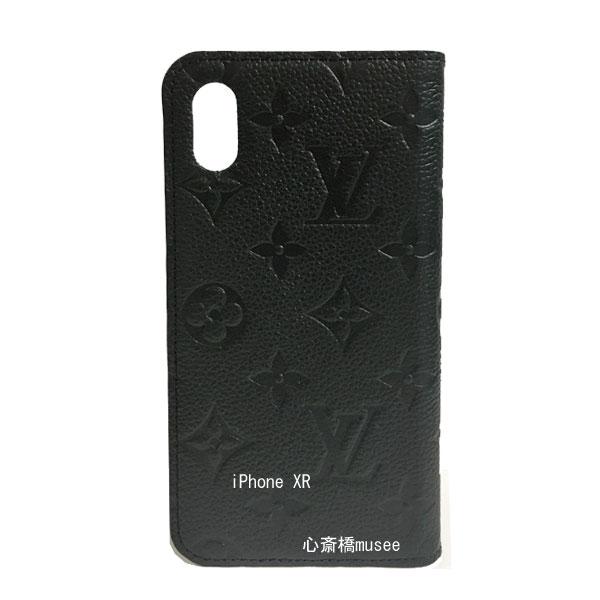 【キャッシュレス5%還元対象】≪新品≫ルイヴィトン フォリオ iPhone XR 10R 二つ折り スマホ 携帯ケース アンプラント 黒 M67492 アクセサリー モバイル 箱 リボン ラッピング LOUISVUITTON アイフォン ビトン エックスアール