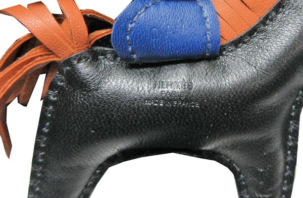 《新品》エルメスロデオ「GRIGRIRODEO」馬革バッグチャームPM黒ブラックゴールドブルーサフィール箱リボンラッピング