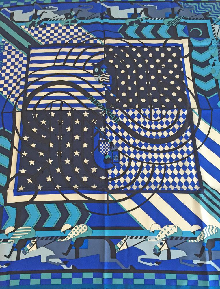 «» HERMES Hermes scarf scarves silk Twill 90 STEEPLE CHASE Blues