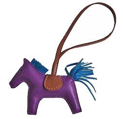 【キャッシュレス5%還元対象】《新品》エルメス ロデオ 「GRIGRI RODEO」 馬 革 チャーム GM アネモ×ブルーイズミール