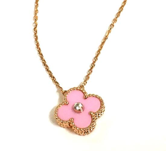 "«» Van Cleef & Arpels Van Cleef & Arpels in 2015 ""vintage Alhambra"" holiday limited edition pendant Pink rare"