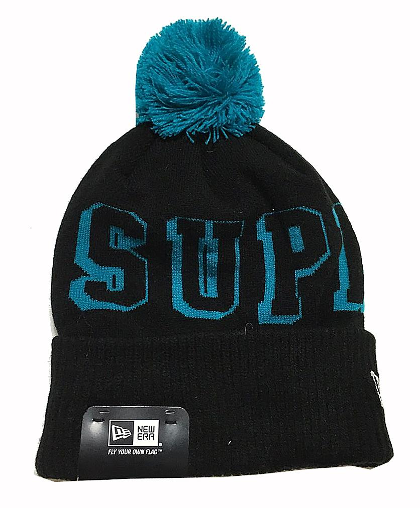 «New» Supreme Supreme 2015 fall winter NewEra new era BANNER BEANIE knit hat  with Navy   Blue. « 60ac1684354