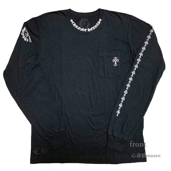 【キャッシュレス5%還元対象】≪新品≫正規品 クロムハーツ 20SS メンズ ロングT シャツ 黒 ブラック セメタリ―クロス バックプリント ネックロゴ Lサイズ ロンT black Chrome hearts
