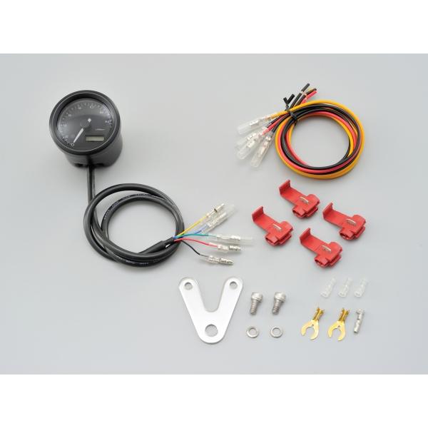 DAYTONA デイトナ VELONA 電気式タコメーター(パルスジェネレーター無し)15000rpm ブラック ボディ 3色LED 取付幅:33mm/ボディー:Φ48 【91676】