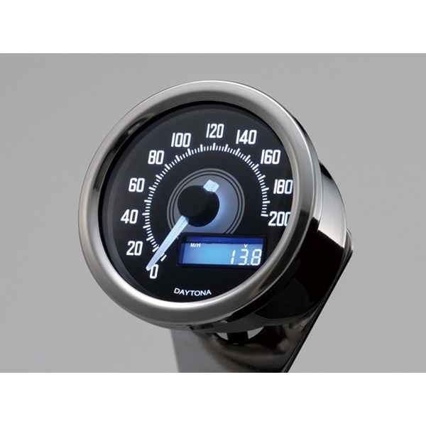 DAYTONA デイトナ VELONAスピードメーター 200km/h バフボディー ブラック P/ホワイトLED 【92248】