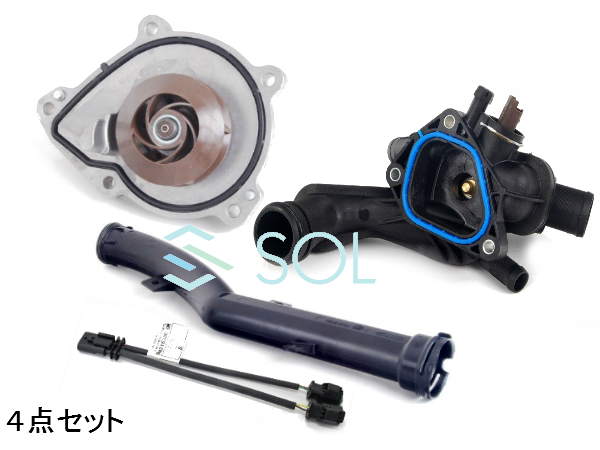 BMW MINI R55 R56 R57 R58 R59 R60 サーモスタット 水温センサー付 + 対策ケーブル + ウォーターポンプ + ホース 4点セット 11537534521 12517646145 11518604888 11537589713