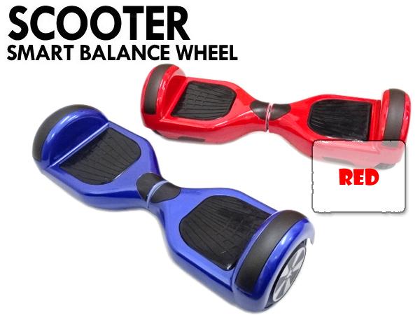 LEDライト搭載 6.5インチタイヤ 電動バランススクーター セグウェイ式タイプ レッド 赤