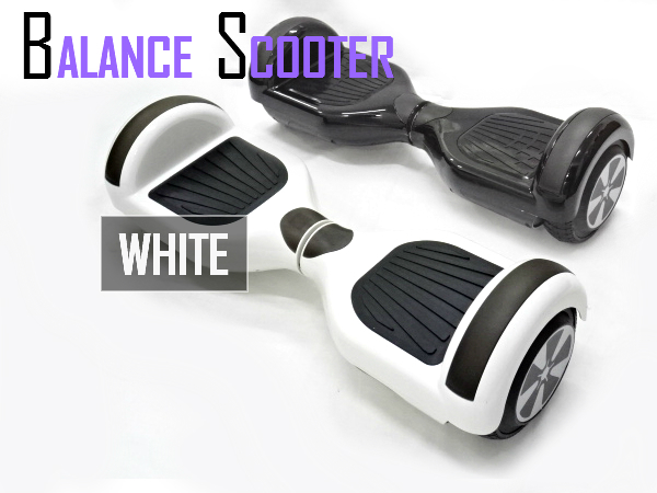 LEDライト搭載 6.5インチタイヤ 電動バランススクーター ミニセグウェイ ホワイト 白