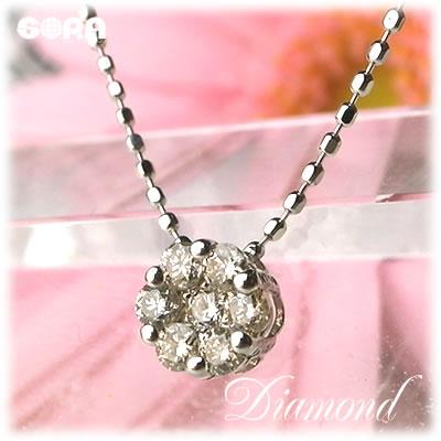 鑑定済 ダイヤモンド 0.2ct K18 ホワイトゴールド ピンクゴールド パヴェ ペンダント パワーストーン 天然石 ◆