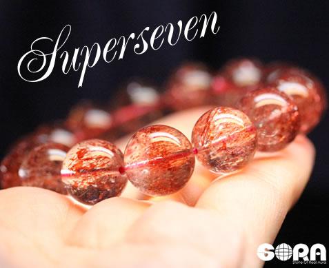 【限定1点モノ】SSSAレッドスーパーセブン 約14mm 一連ブレス  パワーストーン 天然石