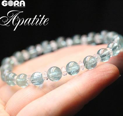 【限定1点モノ】AAAAアパタイト(クリアタイプ) 6mm 水晶ボタン ブレスレット パワーストーン 天然石 【17F】 ◆