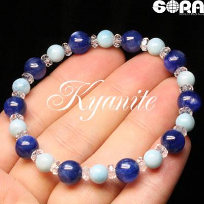 SAカイヤナイト  AAAAAラリマー  水晶ボタン ブレスレット パワーストーン 天然石 ◆
