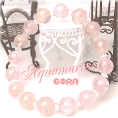 AAAAAモルガナイト ピンクアクアマリン 水晶ボタン ブレスレット