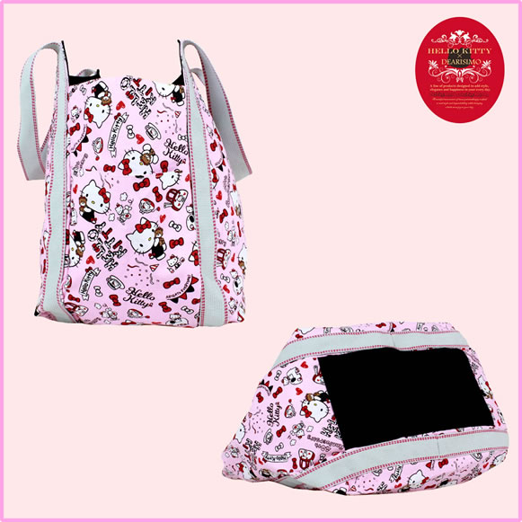 可爱的三丽鸥认证 HELLO KITTY × DEARISIMO 小猫袋手提袋 40 周年你好的小猫 Hello Kitty 案例而言女性动漫