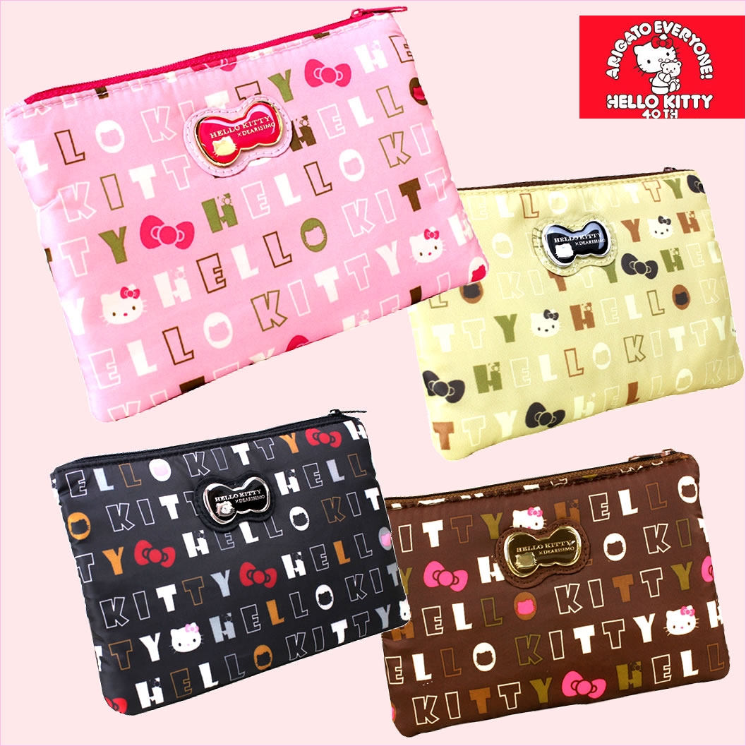 SORA  Sanrio official Hello Kitty pouch square porch zip cosmetic ... 2c1b1c4039