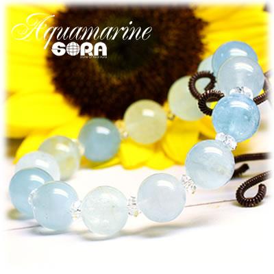 AAAアクアマリン(ブルーグリーン) 12mm ブレスレット パワーストーン 天然石 ◇ ◆