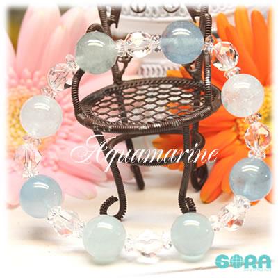 AAAアクアマリン(ブルーグリーン) 12mm AAAAAスターカット水晶 ブレスレット パワーストーン 天然石 ◇ ◆