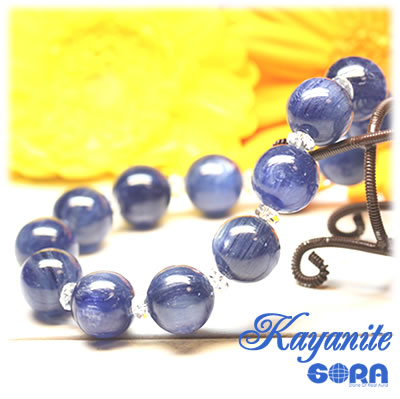 AAAAAカイヤナイト 12mm 水晶ボタン ブレスレット パワーストーン 天然石 ◆