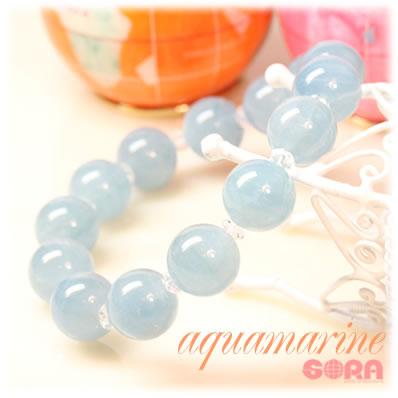 AAAアクアマリン(12mm) 水晶ボタン ブレスレット パワーストーン 天然石 □ ◆