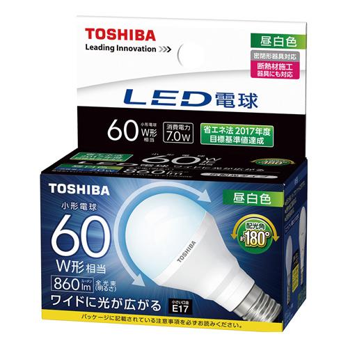 東芝 LED電球 ミニクリプトン形 広配光形 昼白色60W形相当LDA7N-G-E17/S/60W(5個セット)