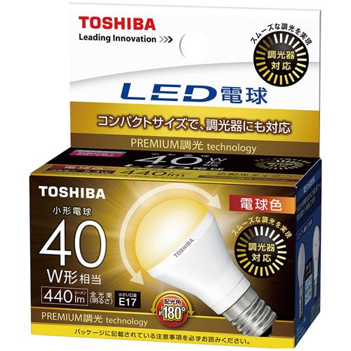 東芝 LED電球 ミニクリプトン形 広配光形 調光対応電球色40W形相当LDA5L-G-E17/S/D40W(5個セット)