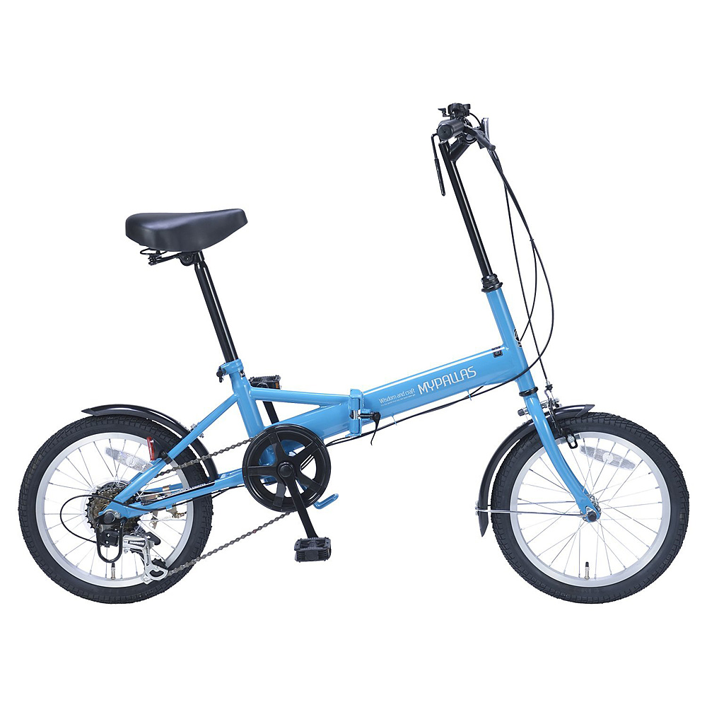《変速ギア付で使い勝手のよいコンパクト自転車》My Pallas 16インチ 6段変速折りたたみ自転車M-102(BL)