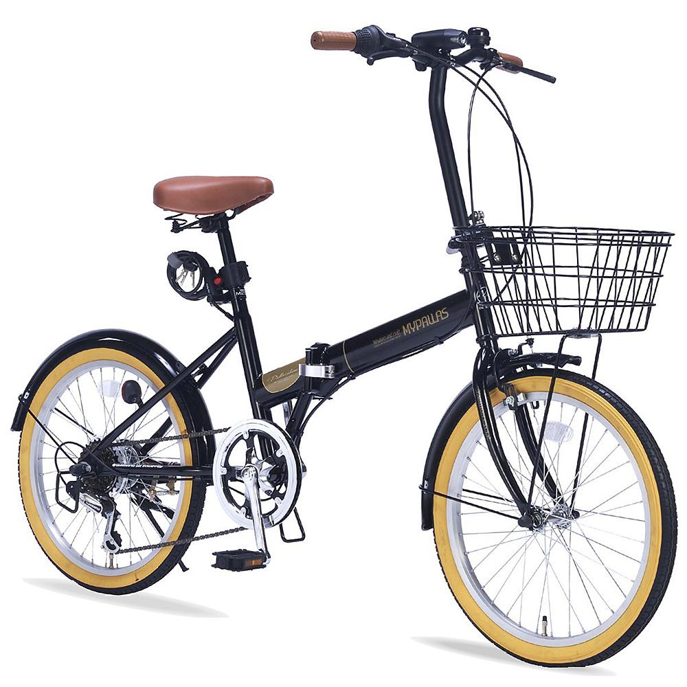 《バスケット・ライト・カギ付の充実装備》My Pallas 20インチ 6段変速折りたたみ自転車M-252(BK)